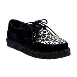 Mens Platform Lace-Up Suede Cheetah Creeper Shoes